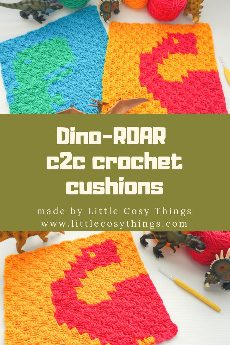 Dino-ROAR c2c crochet cushions by Little Cosy Things