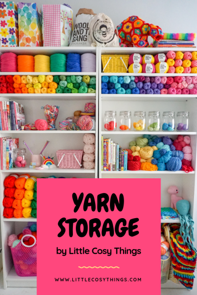 yarn storage bookcase filled with shelves of colourful yarn and craft supplies