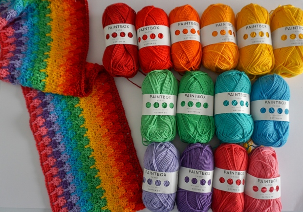 Weeping Rainbows blanket pattern by Little Cosy Things, made with Paintbox Cotton Yarns